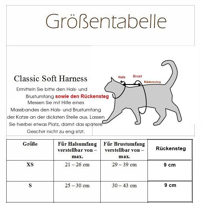 Geschirr für Katzen Größentabelle